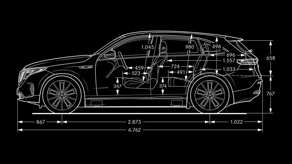 Новий автомобіль Mercedes-Benz EQC У профіль
